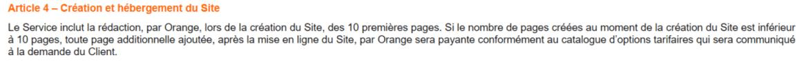 Avis Visibilité par Orange - Extraits des CGV Orange