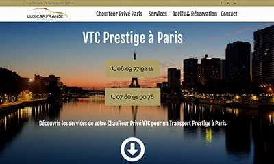 site internet lux car france vtc paris prestige