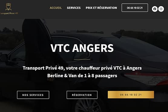 Site Internet pour chauffeur VTC à Angers